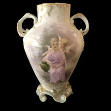 Large French Handled Vase featuring a Woman and Cherub by Artist Mac L