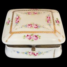 Vintage French Porcelain Box with Roses and Raised Gold Décor on its Lid