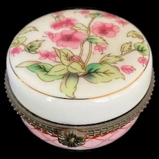 Vintage French Porcelain Round Box with Pink Flowers and Greenery
