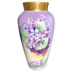 Hand-Painted German Vase with Violets Signed by Artist