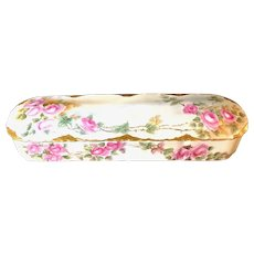 Rosenthal Porcelain Hand-Painted Victorian Glove Box with Pink Roses