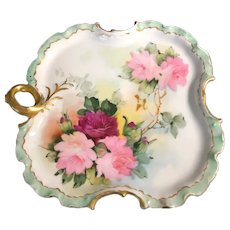 German Rosenthal Hand-Painted Dish with Handle Initialed by the Artist