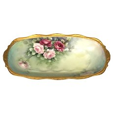 Antique Hand-Painted Porcelain Tray with Roses Artist Signed