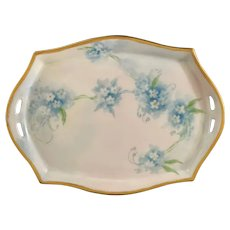 Blue Forget-Me-Nots on Hand-Painted White Porcelain Tray with Gold Accent