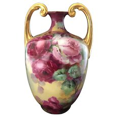 Antique Hand-Painted Limoges Muscle Vase with Red Roses Artist Signed