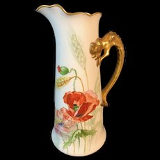 Limoges France White Jean Pouyat Porcelain Poppy Tankard/Pitcher