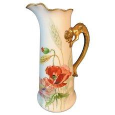 Limoges France White Jean Pouyat Porcelain Poppy Tankard/Pitcher