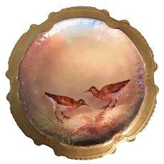 Limoges French Porcelain Plate Game Birds Quail, Artist Signed Nerval