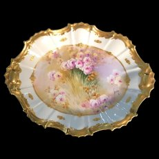 Hand-Painted Limoges France Oval Bowl with Roses and Gold trim Signed by the Artist Leon