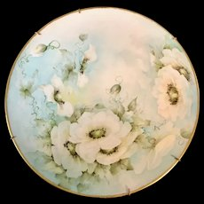 Antique Limoges France Plaque/Plate with White Roses and Artist Signed