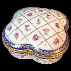 Large Limoges France Porcelain Box with Floral and Cobalt Design