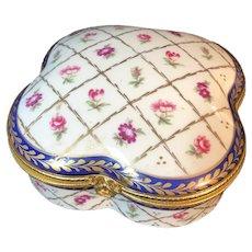 Large Limoges France Porcelain Box with Floral and Cobalt Design
