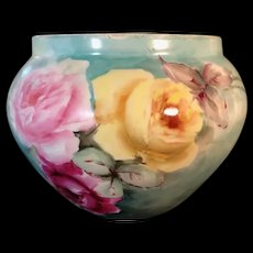Limoges France Porcelain Hand Painted Porcelain Jardiniere with Roses