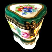 Limoges France Tall Porcelain Trinket Box decorated with Flowers and Gold