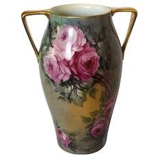 """Large 16"""" Antique T&V Limoges Vase with Roses"""
