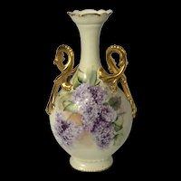 Hand-Painted Limoges Gold Handled Pretzel Vase with Violets Artist Signed