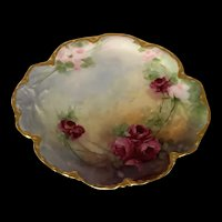 Antique Hand-Painted Haviland Limoges Tray with Roses