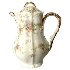 Antique Elite (Bawo & Dotter) Limoges Chocolate Pot with Pink Flowers