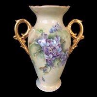 Limoges Vase with Violets, Gold Handles, Coiffe, Artist Signed