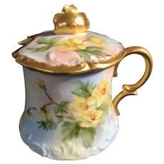 Limoges France T&V Hand-Painted Mustard Pot. c. 1907, Decorated with Yellow Roses