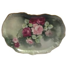 Antique Hand-Painted Limoges Dresser Tray with Roses