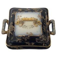 Rare Antique Haviland Limoges Covered Box in Cobalt Blue
