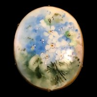 Hand-Painted Vintage Limoges Porcelain Pin with White and Blue Flowers