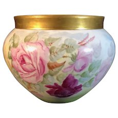 Large Limoges Hand-Painted Jardiniere with Yellow, White and Pink Roses, Signed by the Artist, 1898