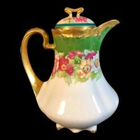 Lovely Vintage Coronet Limoges Hand-Painted chocolate pot c. 1906-1920