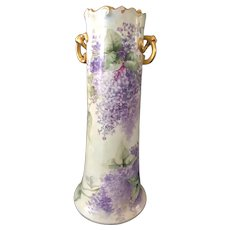 Hand-Painted Limoges Pretzel Handled Vase