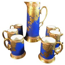 Striking Bright Blue and Gold Tankard with Six Matching Cups from the France Studio
