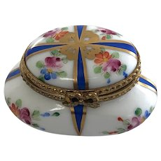 Hand-Painted Rochard Limoges Trinket Box with Brass Bow Clasp