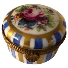 Darling Round French Porcelain Limoges Box with Roses and Blue & Gold Strips