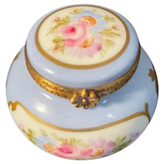 Round French Limoges Box decorated with Flowers Highlighted with Gold