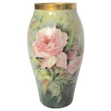 T&V Limoges Hand-Painted Porcelain Vase