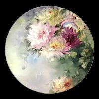 """Large Antique 16"""" Hand-Painted Limoges Charger with Peonies"""
