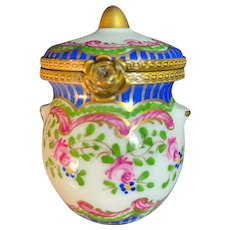 Hand-Painted French Limoges Trinket Box shaped like a Jug with handles and a cover signed by the Artist