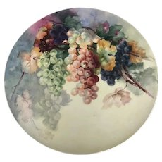 "Beautiful Antique Large 18"" Hand-Painted Limoges Charger with Grapes"