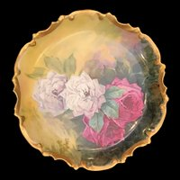 """10"""" Limoges Hand-Painted Plaque with White and Dark Pink Roses – Artist Signed"""