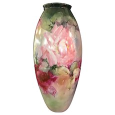 """15"""" Limoges Hand-Painted Porcelain Vase with Roses and Greenery"""
