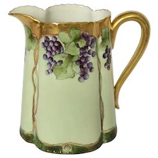 Hand-Painted Haviland Limoges Pitcher Featuring Grapes
