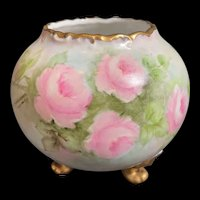 Footed Limoges Vase, Artist Signed, with Pink Roses