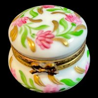 Round Limoges Hand-Painted Box with Pink Flowers, Greenery, and Gold Highlights
