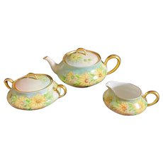Limoges France Hand-Painted Tea Set with Yellow Daisies Artist Signed