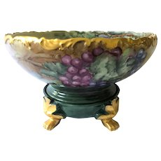 Antique Hand-Painted T&V Limoges Punch Bowl with Grapes on Plateau