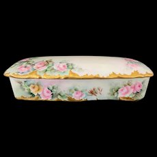 Limoges France Porcelain Glove Box Hand-Painted with Roses and Gold