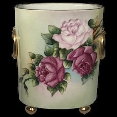 Antique Hand-Painted Limoges Cache Pot with Red and Pink Roses