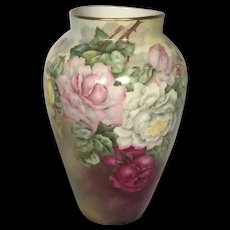 D&C Limoges Antique Hand-Painted Signed Vase with Cabbage Roses