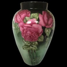Large Artist Signed D&C Limoges Hand-Painted Vase with Red Roses