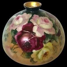 Antique Hand-Painted Jean Pouyat Limoges Bulbous Vase with Roses